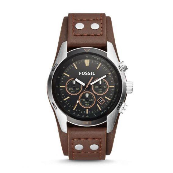 Montre Coachman chronographe en cuir - Brun - Montre Fossil pour homme