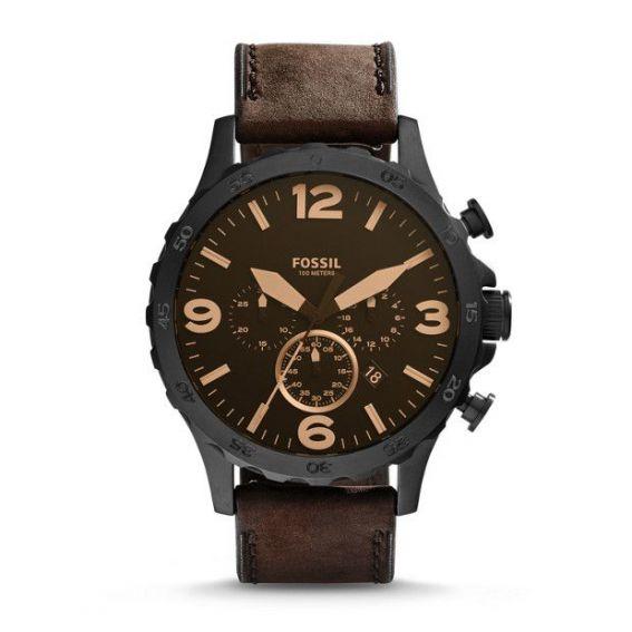 Montre Nate chronographe en cuir - Marron - Montre Fossil pour homme