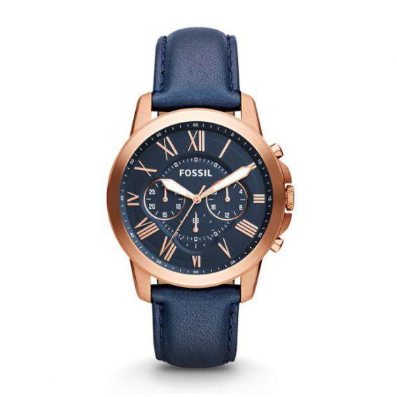 Montre Grant chronographe en cuir - Bleu - Montre Fossil pour homme