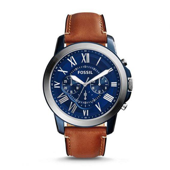 Montre Grant chronographe en cuir brun clair - Montre Fossil pour homme