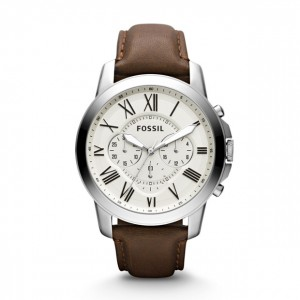 Fossil - Watch Grant brown genuine leather