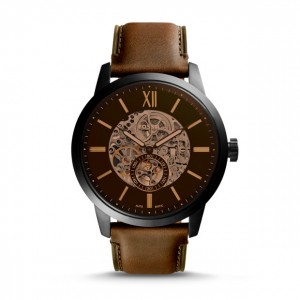 Fossil - Watch Townsman automatic brown leather 48mm