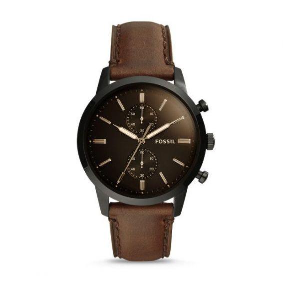 Montre Townsman chronographe en cuir marron de 44 mm - Montre Fossil pour homme