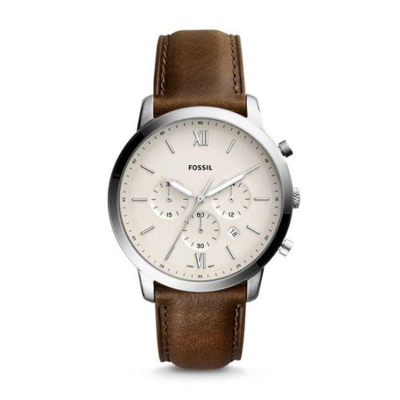 Montre Neutra chronographe en cuir marron - Montre Fossil pour homme