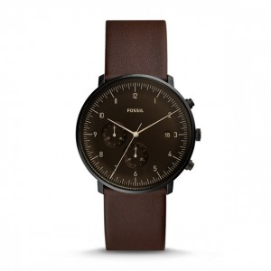 Montre Chase Timer chronographe en cuir whisky - Montre Fossil pour homme