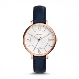Fossil - Watch Jacqueline three-hand date + Leather - Blue