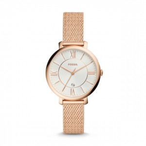 Jacqueline Three-Hand Rose Gold-Tone Stainless Steel Watch - Montre Fossil pour femme