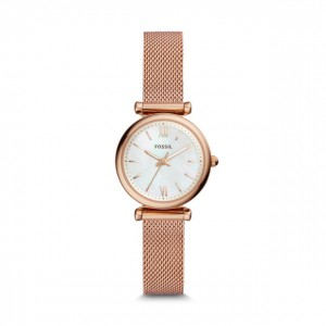 Fossil - Watch Carlie Mini Three-hand stainless steel rose gold