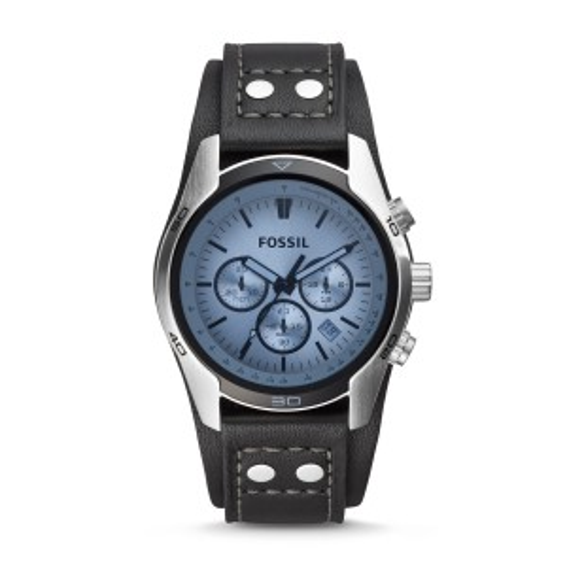 Montre Coachman chronographe en cuir - Noir - Montre Fossil