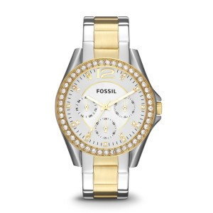 Fossil - Multifunctional Watch riley stainless steel bicolor