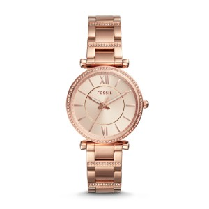 Fossil - Watch Carlie three stainless steel needles pink gold