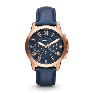 Fossil - Fossil Grant Leather Chronograph - Blue