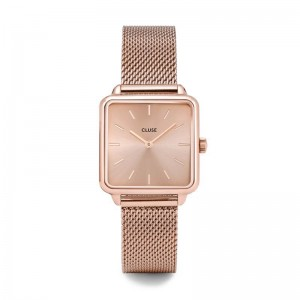 Cluse - Watch CLUSE - The Tetragon full mesh pink gold