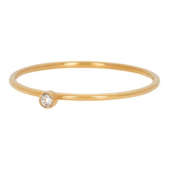 Solitaire doré pierre cristal - Bijoux & bague de la marque iXXXi