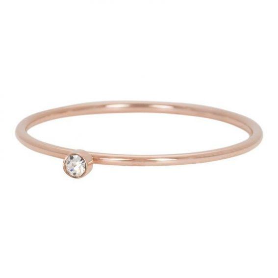 Solitaire rosé pierre cristal - Bijoux & bague de la marque iXXXi