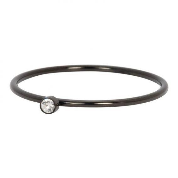 Solitaire noir pierre cristal - Bijoux & bague de la marque iXXXi