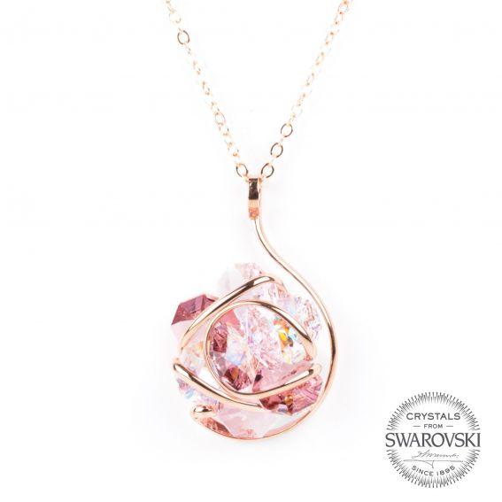Collier Andrea Marazzini - Bijoux cristal flower Swarovski rosé