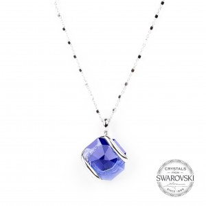 Marazzini - mini Swarovski crystal necklace dark blue