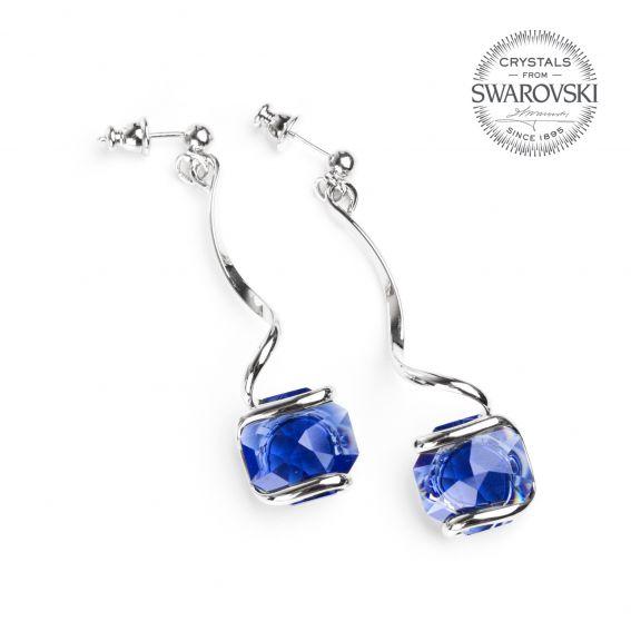 Boucles d'oreille cristal Swarovski bleu foncé