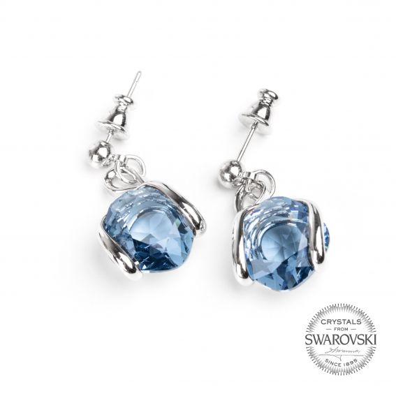 Boucles d'oreille cristal Swarovski denim