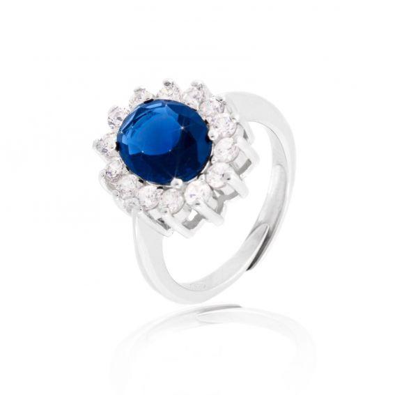 Bague Diana bleu saphir - Bijoux en argent - Bague ajustable