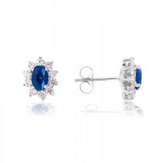Perceuses Diana bleu saphir - Bijoux en argent - Boucles d'oreilles