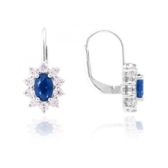 Dormeuses Diana bleu saphir - Bijoux en argent - Boucles d'oreilles