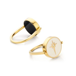 Mya Bay - enamelled ivory and black reversible Comet