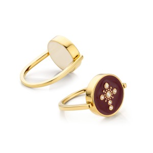 Mya Bay - Reversible Cross enamelled burgundy and ivory
