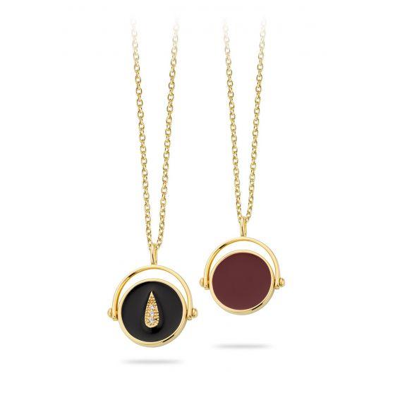 Mya Bay - Enamel Drop reversible black and burgundy