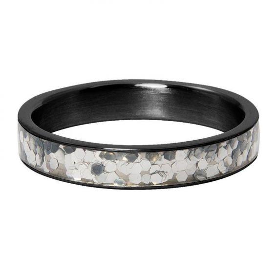 Anneau couvrant iXXXi Glitter confetti noir - Bijoux de marque iXXXi