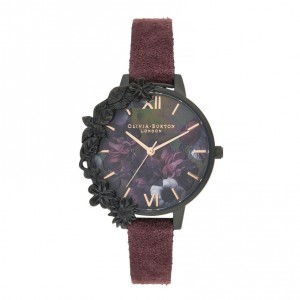 Olivia Burton - Watch After Dark suede lees of wine Case Cuff