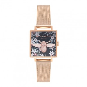Montre 3D Bee à bracelet milanais or rose et cadran carré - Montre (watch) Olivia Burton