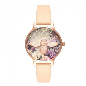 Montre pêche nude et or rose Glasshouse - Montre (watch) Olivia Burton