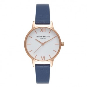 Montre bleu marine et or rose à cadran blanc - Montre (watch) Olivia Burton