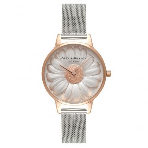Olivia Burton - Strap Watch Milanese silver and rose gold 3D