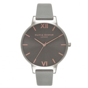Olivia Burton - gray and pink gold watch with large dial