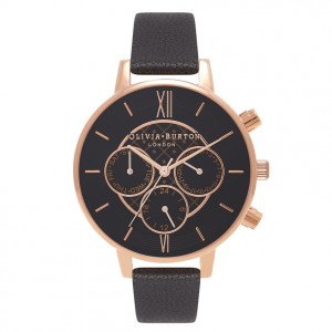 Montre noir et or rose Dot Design Chrono Detail - Montre (watch) Olivia Burton