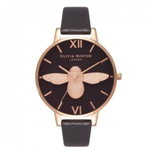 Montre or rose à cadran noir 3D Bee - Montre (watch) Olivia Burton