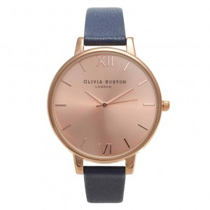 Olivia Burton - Watch blue navy and pink gold with large dial