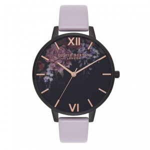Montre florale gris mauve et noir mat After Dark - Montre (watch) Olivia Burton