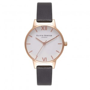 Olivia Burton - Black and Rose Gold White Dial Watch