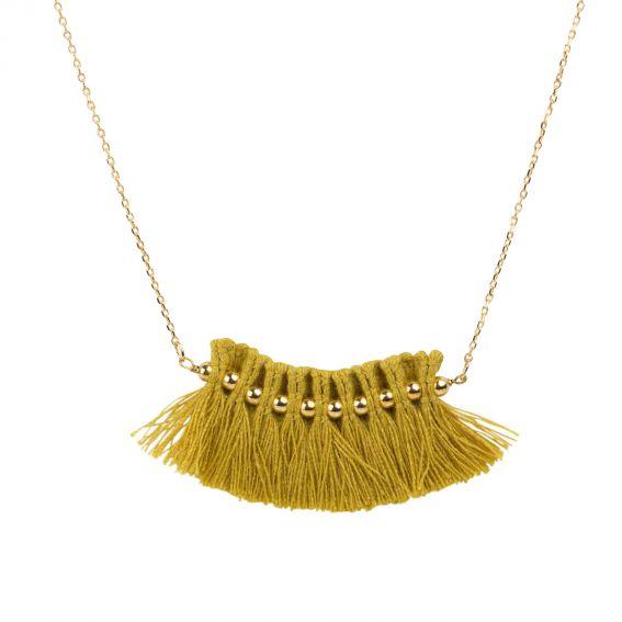 Collier 7bis Pompon frange moutarde - Bijoux & colliers de marque 7bis