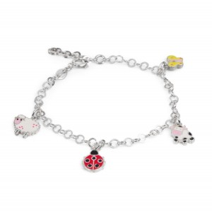 Bijou en argent - Sheep, ladybird, cow and butterfly