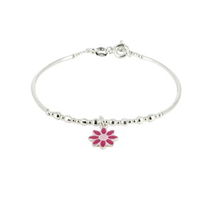Bijou en argent - Bracelet rigid flower child