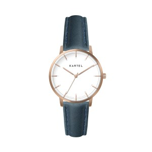 Kartel - KT-Isla 34mm-RGWN Navy Blue Stitched Leather strap