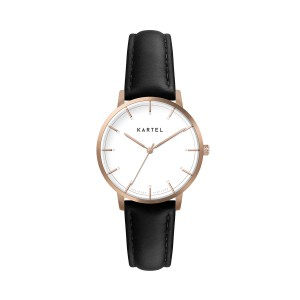 Kartel - KT-Isla 34mm-RGWB Black Stitched Leather strap