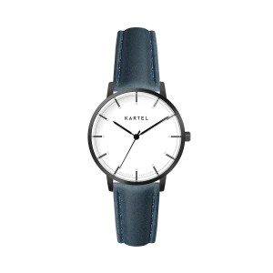 Kartel - KT-Isla 34mm-GMN Navy Blue Stitched Leather strap