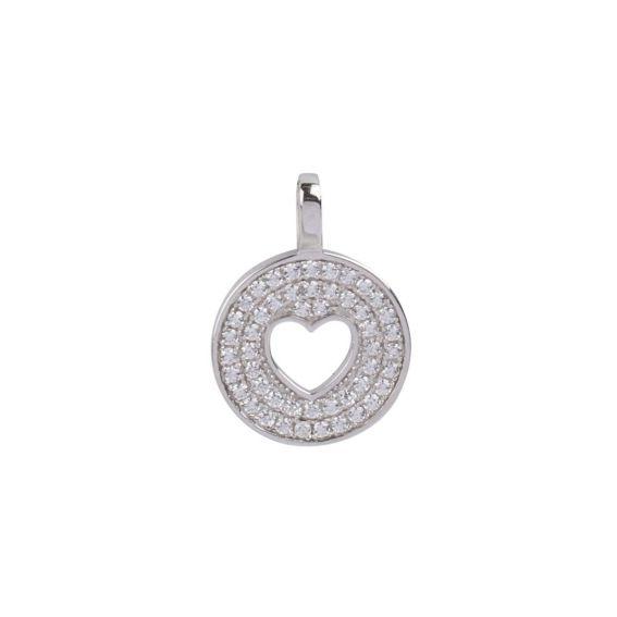 Bijou en argent - Medal heart and stones