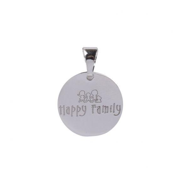 Pendentif Médaille Happy Family en argent 925 - Pendentifs en Argent